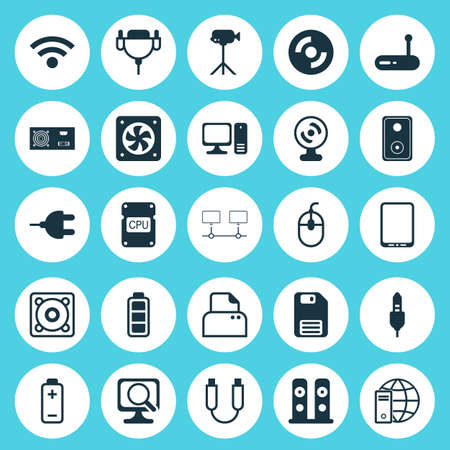 Hardware Icons Set. Collection Of Loudspeakers, Connector, Aux Cord And Other Elements. Also Includes Symbols Such As Cd-Rom, Generator, Floppy.