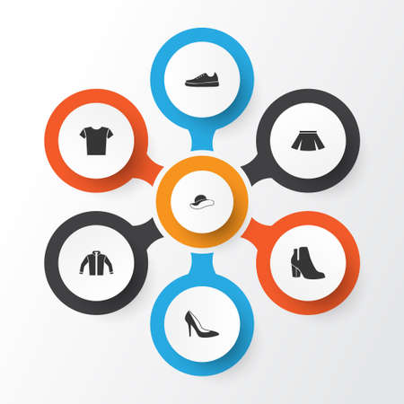 Clothes icons set. Collection of heel footwear, stylish apparel, cardigan and other elements.