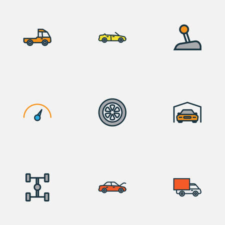 Car colorful outline icons set. Collection of bonnet, shed, sport and other elements.