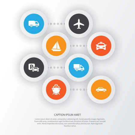 Transportation Icons Set. Collection Of Road Sign, Truck, Aircraft And Other Elements. Also Includes Symbols Such As Camion, Airplane, Parking. Illustration