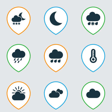 Climate Icons Set. Collection Of Weather, Douche, Sun-Cloud And Other Elements. Also Includes Symbols Such As Hot, Snow, Douche.