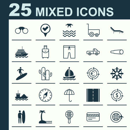 Tourism Icons Set. Collection Of Cardinal Direction, Sunrise, Cacti And Other Elements. Also Includes Symbols Such As Car, Surfboard, Gingham. Illustration