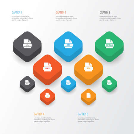 Types Icons Set. Collection Of Folio, Database, Script And Other Elements