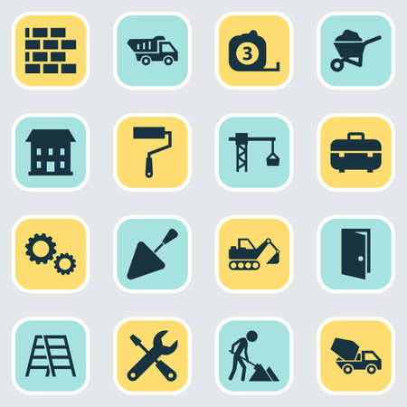 Architecture icons set. Collection of home, service, cement vehicle and other elements. Illustration