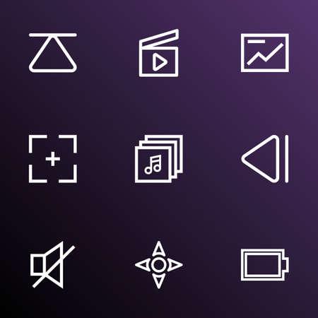 Multimedia outline icons set. Ilustrace