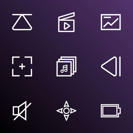 Multimedia outline icons set. Illustration
