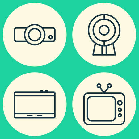 Gadget icons set. Collection of gadget, broadcast, television and other elements.