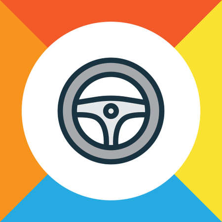 Premium quality isolated rudder element in trendy style.  Steering wheel colorful outline symbol. Illustration