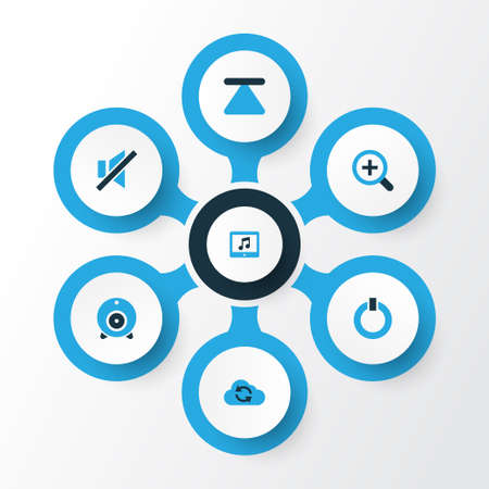 eject icon: Music Colorful Icons Set. Collection Of Mute, Power, Zoom In And Other Elements