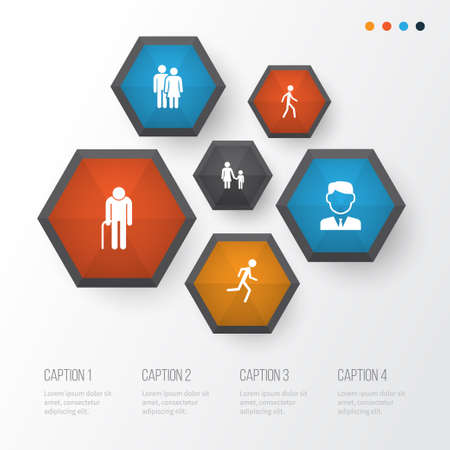 Human Icons Set. Collection Of Family, Running, Grandpa Elements Stock Vector - 89290242