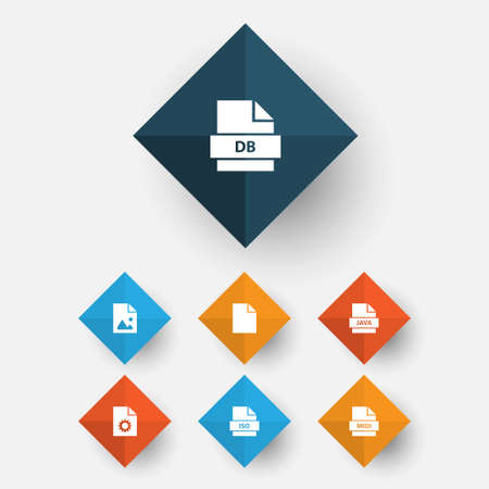 Types Icons Set. Collection Of Backup, Configuration, Record And Other Elements Illustration