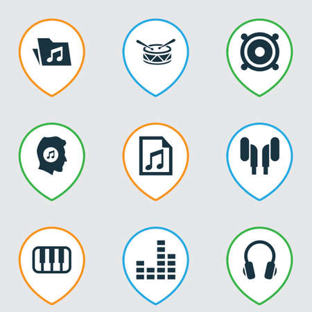 Multimedia Icons Set. Collection Of Megaphone, Dossier, Octave And Other Elements Stock Photo