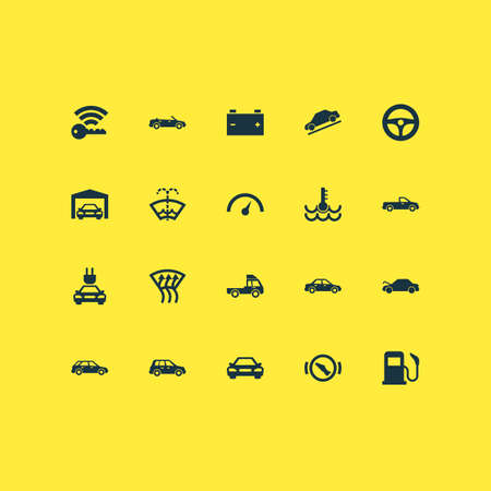 Includes Icons Such As Accumulator, Windscreen, Van And Other.  Auto Icons Set.