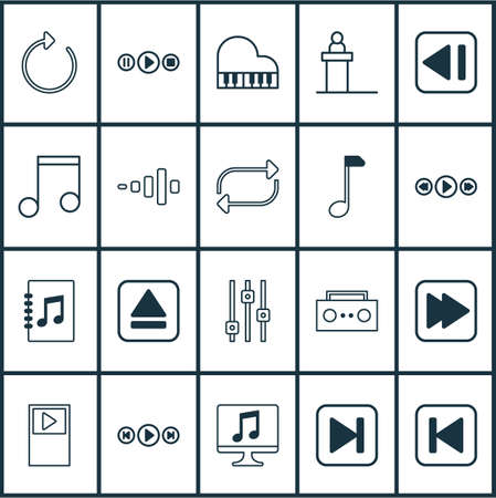 Includes Icons Such As Broadcast, Frequency, Stabilizer And Other.  Multimedia Icons Set.  Illustration