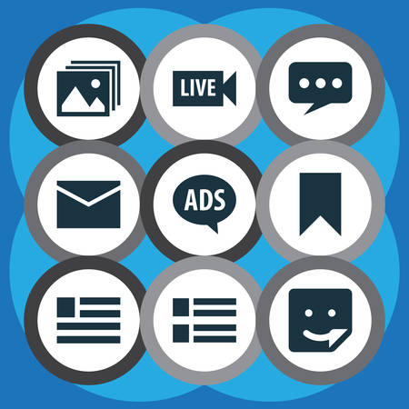 Includes Icons Such As Letter, Flag, Advertising And Other.  Media Icons Set.