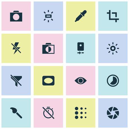 카메라 후면, 필터 없음, 밝기 및 기타와 같은 아이콘을 포함합니다. 사진 아이콘을 설정합니다. 일러스트