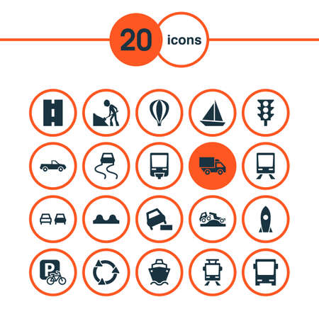 Includes Icons Such As Yacht, Stoplight, Tanker And Other.  Transport Icons Set.  Illustration