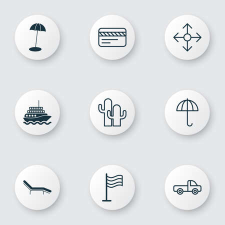 Includes Icons Such As Gingham, Vehicle Car, Cacti And Other.  Travel Icons Set.