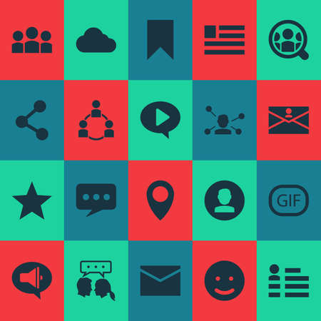 Includes Icons Such As Smile, Personal Data, Letter And Other.  Social Icons Set.