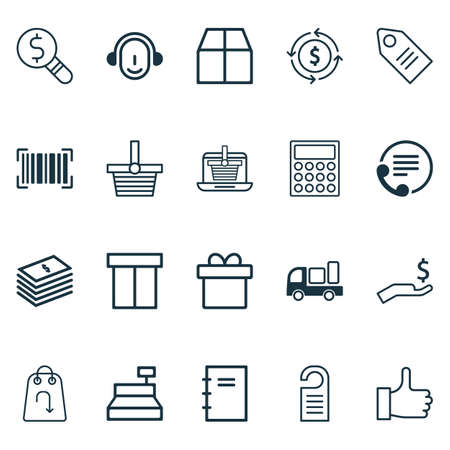 Includes Icons Such As Pannier, Business Inspection, Spiral Notebook And Other.  Ecommerce Icons Set.