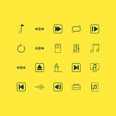 Includes Icons Such As Rostrum, Player, Frequency And Other.  Multimedia Icons Set.  Illustration