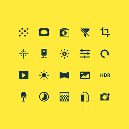 Includes Icons Such As Shine, Angle, Multimedia And Other.  Photo Icons Set.  Illustration