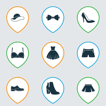 Includes Icons Such As Elegant Headgear, Female Winter Shoes, Stylish Apparel And Other.  Clothes Icons Set.