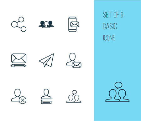Includes Icons Such As Publication, Communication, Ban And Other.  Social Icons Set.