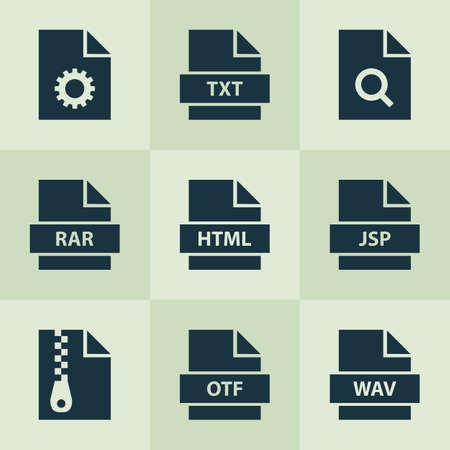 wav: Document Icons Set. Includes Icons Such As Storage, Jsp, Zip And Other. Illustration