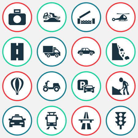Transport Icons Set. Includes Icons Such As Traffic Camera, Way, Stoplight And Other.