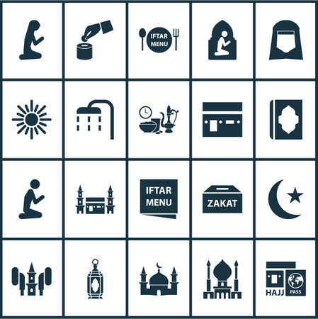 Holiday Icons Set. Includes Icons Such As Iftar, Dishes, Midday And Other.