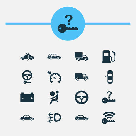 Car Icons Set. Includes Icons Such As Repairing, Truck, Hatchback And Other.