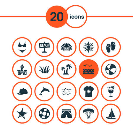 Includes Icons Such As Conch, Sedge, Board And Other.  Season Icons Set.