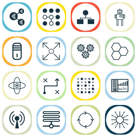 Robotics Icons Set. Includes Icons Such As Algorithm Illustration, Analysis Diagram, Cyborg And Other.