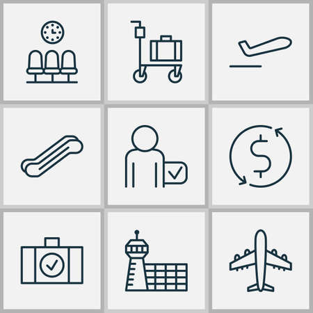 Airport Icons Set With Luggage Scanner, Stair Lift, Suitcase Pushcart And Other Globetrotter   Elements. Isolated Vector Illustration Airport Icons. Illustration