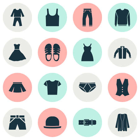 Dress Icons Set With Panama, Singlet, Trunks Cloth And Other Jeans   Elements. Isolated Vector Illustration Dress Icons.