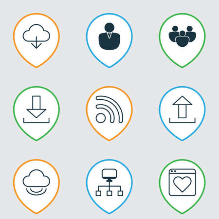 Web Icons Set With Account, Team, Down Arrow And Other Local Connection