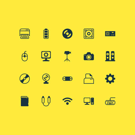 Hardware Icons Set With Memory Card, Camcorder, Accumulator Sign And Other File Scanner   Elements. Isolated Vector Illustration Hardware Icons. Illustration