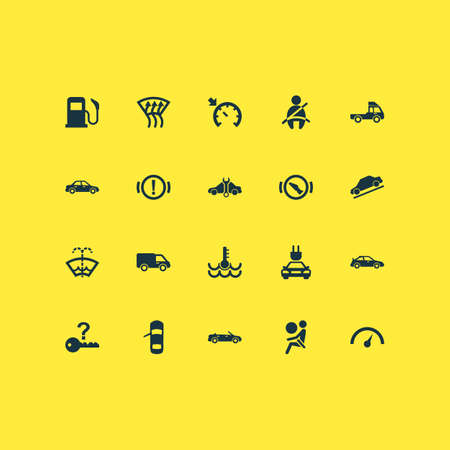Automobile Icons Set With Convertible Model, Warning, Vehicle And Other Convertible Model   Elements. Isolated Vector Illustration Automobile Icons.
