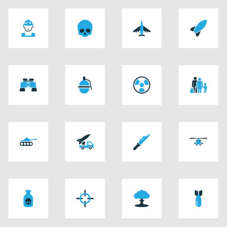 Army Colorful Icons Set With Bio Hazard, Poison, Knife And Other Bio Hazard  Elements. Isolated Vector Illustration Army Icons.