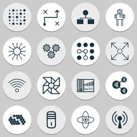 Machine Icons Set With Solution, Cyborg, Wireless Communications And Other Lightness Mode   Elements. Isolated Vector Illustration Machine Icons.