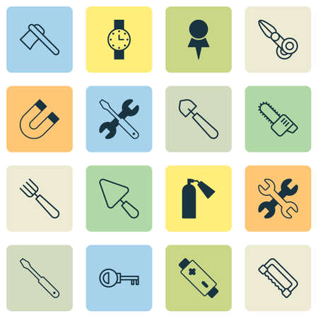 Instrument Icons Set With Garden Fork, Attraction, Timer And Other Turn Screw   Elements. Isolated Vector Illustration Instrument Icons.