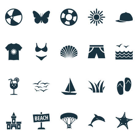 Sun Icons Set With Mammal, Skydiving, Sea Star And Other Sedge   Elements. Isolated Vector Illustration Sun Icons.