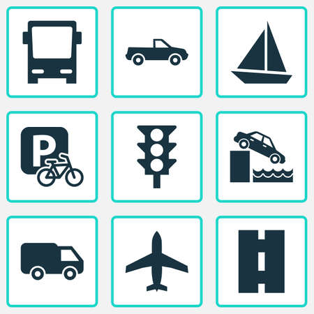 Transport Icons Set With Yacht, Aircraft, Parking For Bike And Other Cabriolet   Elements. Isolated Vector Illustration Transport Icons. Çizim