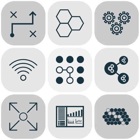 Machine Icons Set With Information Components, Wireless Communications, Controlling Board And Other Branching Program    Elements. Isolated Vector Illustration Machine Icons.