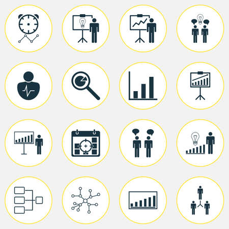 Authority Icons Set With Project Targets, Company Statistics, Group Organization And Other Group Organization   Elements. Isolated Vector Illustration Authority Icons.