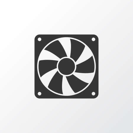 Symbol ikonę chłodnicy. Element na białym tle wentylatora najwyższej jakości w modnym stylu.