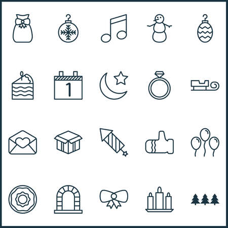 Holiday Icons Set With Air Ball, Butterfly Knot, Greeting Email And Other Mitten