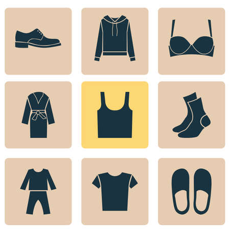 Clothes Icons Set With Pullover, Casual, Half-Hose And Other Half-Hose   Elements. Isolated Vector Illustration Clothes Icons.