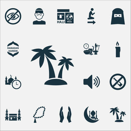 Ramadan Icons Set With No Alcohol, Hejaz, Muslim And Other Namaz Place